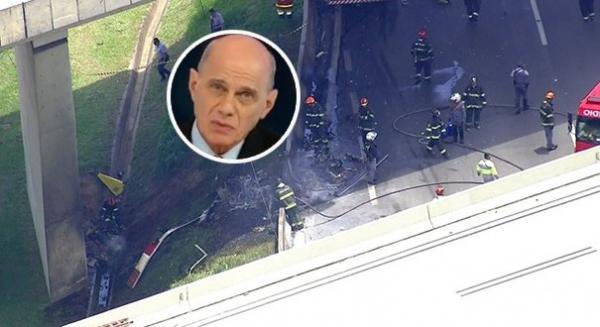 Câmera mostra queda de helicóptero de Ricardo Boechat